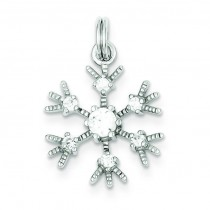 Clear CZ Snowflake Charm in Sterling Silver