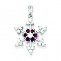Red CZ Snowflake Charm in Sterling Silver