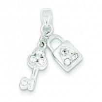 CZ Lock Key Pendant in Sterling Silver