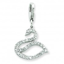CZ Swan Charm in Sterling Silver