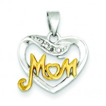 Diamond Mom Pendant in Sterling Silver
