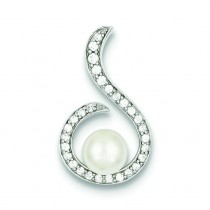 Pearl CZ Pendant in Sterling Silver