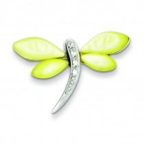 CZ Mother Of Pearl Dragonfly Pendant in Sterling Silver