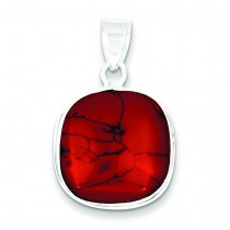 Square Red Stone Pendant in Sterling Silver