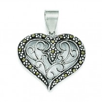 Marcasite Heart Pendant in Sterling Silver