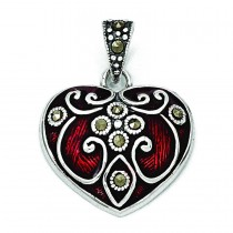 Red Enamel Marcasite Heart Pendant in Sterling Silver