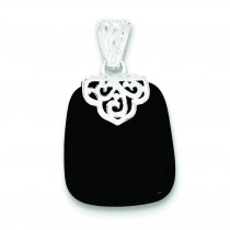 Black Onyx Pendant in Sterling Silver