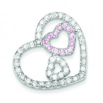 CZ Heart Pendant in Sterling Silver