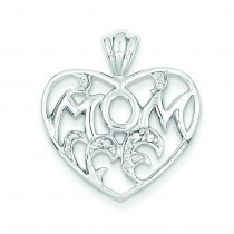 CZ Mom Heart Pendant in Sterling Silver
