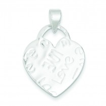 Embossed Love Heart Pendant in Sterling Silver