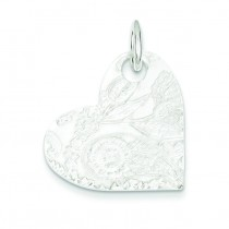 Embossed Heart Disc Pendant in Sterling Silver