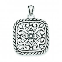 Antiqued Square Floral Pendant in Sterling Silver
