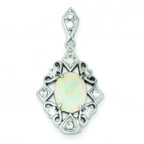 Opal CZ Pendant in Sterling Silver