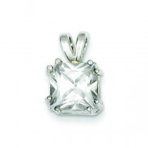 Princess CZ Pendant in Sterling Silver