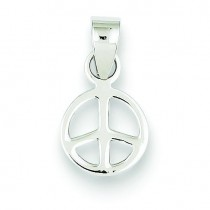 Small Peace Symbol Pendant in Sterling Silver