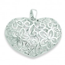 Flower Filigree Design Puffed Heart Pendant in Sterling Silver