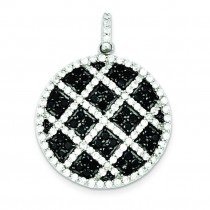 Black White CZ Checkered Pendant in Sterling Silver