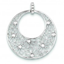 Cut Out Flowers CZ Circle Pendant in Sterling Silver