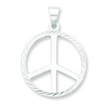 Diamond Cut Peace Symbol Pendant in Sterling Silver