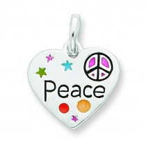 Heart Peace Charm in Sterling Silver