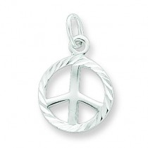 Diamond Cut Peace Sign Symbol Charm in Sterling Silver