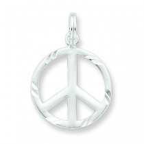 Diamond Cut Peace Symbol Charm in Sterling Silver