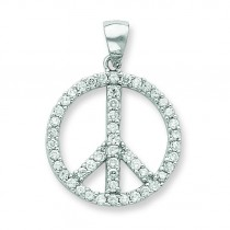 CZ Peace Symbol Pendant in Sterling Silver