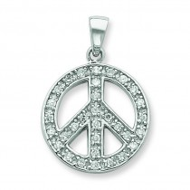 Clear CZ Peace Symbol Pendant in Sterling Silver