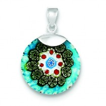 Multicolored Glass Circle Pendant in Sterling Silver