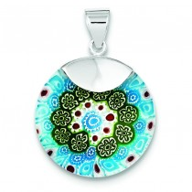 Blue Green Glass Fancy Pendant in Sterling Silver