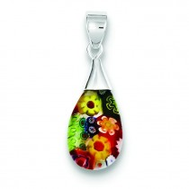 Multicolored Glass Teardrop Pendant in Sterling Silver