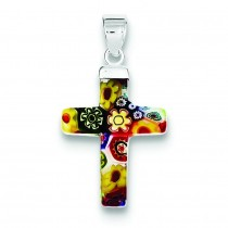 Multicolored Glass Polished Cross Pendant in Sterling Silver