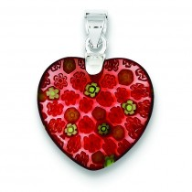 Red Glass Heart Pendant in Sterling Silver