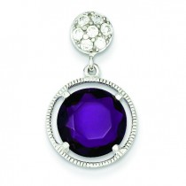 Small CZ Circle Hanging Purple CZ Circle Pendant in Sterling Silver