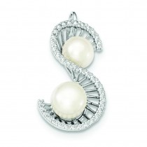 S Shape CZ Freshwater Cultured Pearls Pendant in Sterling Silver