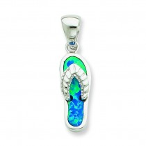 Blue Inlay Opal Sandal Pendant in Sterling Silver