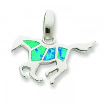 Blue Opal Inlay Horse Pendant in Sterling Silver