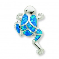 Blue Opal Inlay Frog Slide Pendant in Sterling Silver