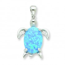Opal Inlay Sea Turtle Pendant in Sterling Silver