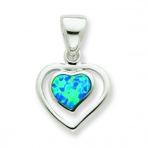 Blue Opal Inlay Heart Pendant in Sterling Silver