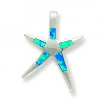Blue Opal Inlay Flat Starfish Pendant in Sterling Silver