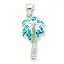 Blue Opal Inlay Palm Tree Pendant in Sterling Silver