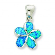 Blue Inlay Opal Flower Pendant in Sterling Silver