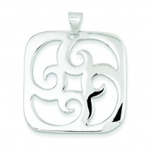 Square Swirl Pendant in Sterling Silver