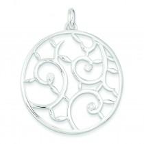 White CZ Fancy Pendant in Sterling Silver