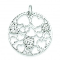 Cut Out CZ Hearts Circle Pendant in Sterling Silver