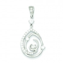 Fancy Swirl CZ Teardrop Pendant in Sterling Silver