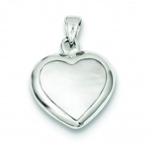 Onyx Mother Of Pearl Heart Pendant in Sterling Silver