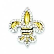 CZ Fleur De Lis Accents Slide Pendant in Sterling Silver