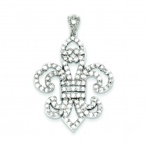 CZ Fleur De Lis Pendant in Sterling Silver